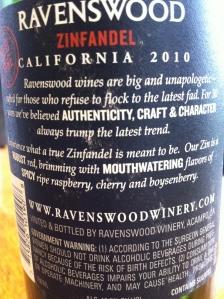 ravenswood old vine zinfandel 2010