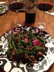 Bison with Green Beans and Chard