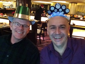 Christmas dinner with silly hats