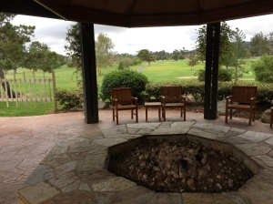 The fire pit, just at the edge of the golf course