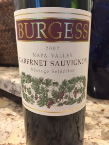 Burgess Cellars Vintage Selection Cabernet Sauvignon, Napa Valley